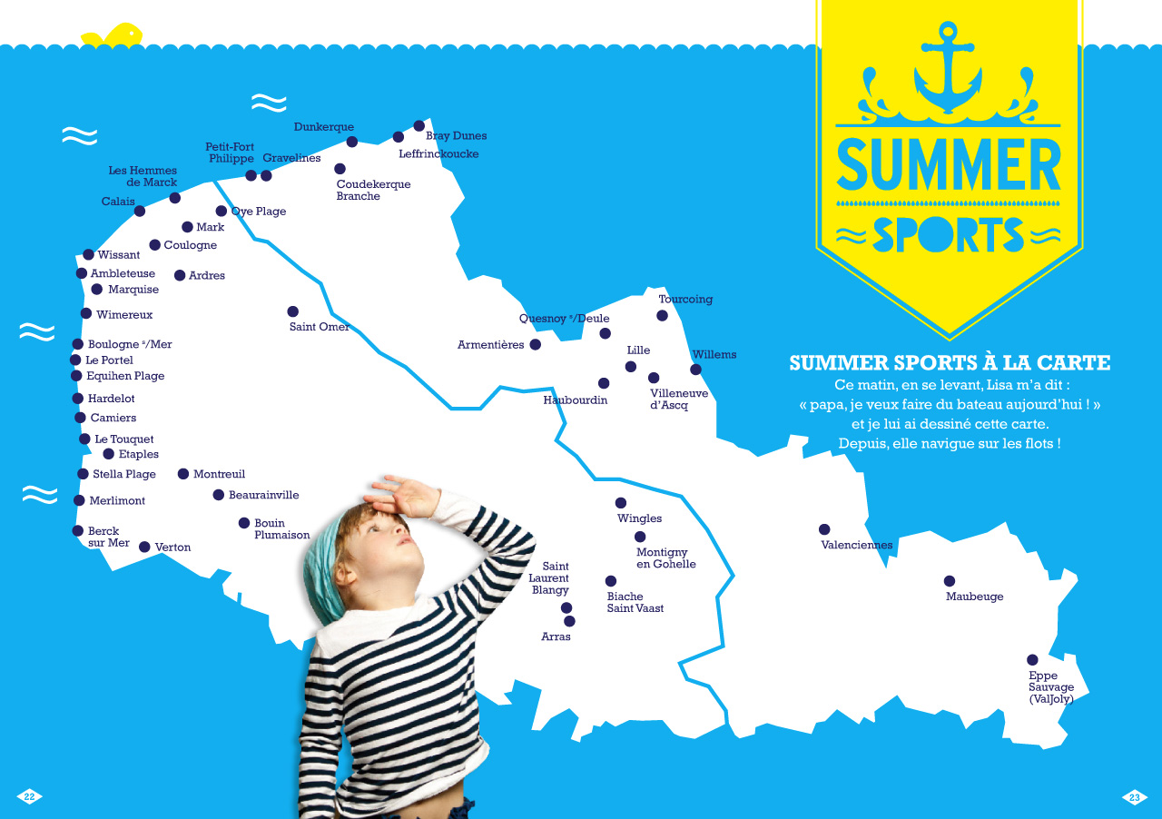 Double page intérieure de l'agenda Sport en Or dédié aux sports d'été