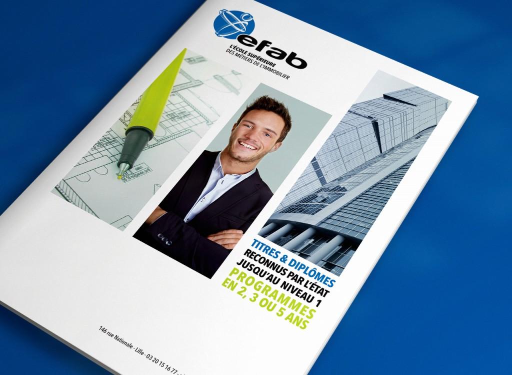 Couverture de la plaquette de l'EFAB - l'Ecole supérieure des métiers de l'Immobilier